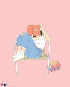 Reading Art Print by aboutpurple Cartoon Girl Drawing, Girl Cartoon, Cute Cartoon, Girl Reading Book, Reading Art, Reading Cartoon, Book Aesthetic, Aesthetic Anime, Digital Art Girl