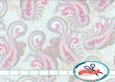 SHABBY ROSE PAISLEY Fabric By The Yard Fat Quarter Pink Aqua Paisley Shabby Chic 100 Cotton Quilt T3 10