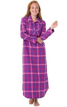 Women s Bright Plaid Flannel Nightgowns Flannel Nightgown a63415ceb