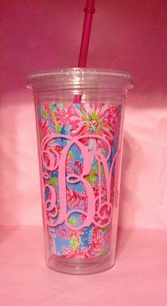 Monogrammed Lilly Pulitzer Cup on Etsy, $20.00