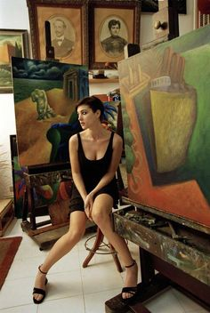 Monica BELLUCCI in painter Gaetano Tranchino's studio - Ferdinando Scianna, Fashion story in Sicily