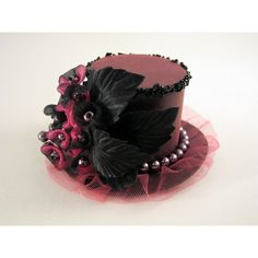 Pink mini top hat. Girl or women hat. Valentine's mini top hat. Photo... ❤ liked on Polyvore