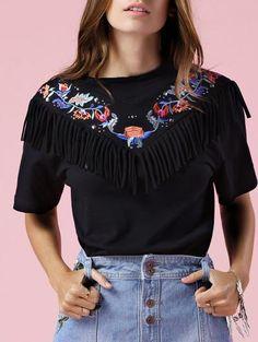Borlas empalmado cuello redondo manga corta del bordado de la camiseta
