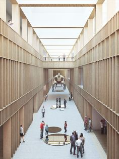 New National Gallery and Ludwig Museum Arch Interior, Interior Architecture, Public Architecture, School Architecture, Interior Design, Atrium Design, National Gallery, Timber Structure, Light In