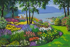 Rémi Clark, 'Notre jardin', x Gardens Of The World, Art Gallery, Beauty In Art, Most Beautiful Gardens, Galerie D'art, Colorful Paintings, Garden Plants, Les Oeuvres, Folk Art