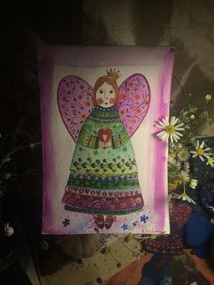 Heart Angel watercolour by Cecileart on Etsy