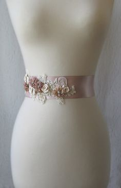 Dusty Rose Bridal Sash, Mauve Pink Wedding Belt with Handmade Flowers and Champagne Lace - SONATA. $145.00, via Etsy.