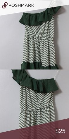 Mine Anthropologie Sz S Top NWT Mine blouse in size small. New with tags. Green and ivory stripe, one shoulder. So cute on!   Measurements Bust 34 inches Length25 inches mine Tops