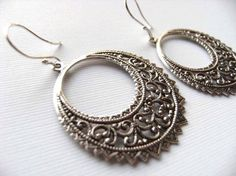 Earrings Simple Silver Filigree Hoops and Sterling by TheSilverDog, $13.00