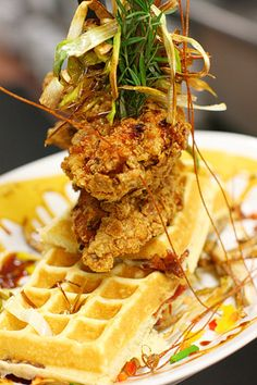 Sage Fried Chicken and Waffles @ Hash House a Go Go - This is 2 full size chicken breasts and 4 waffles. Be sure to share! Even the kids meals are huge - inch pancake at thick (enough for an adult) Bacon Waffles, Pancakes And Waffles, Bacon Hash, Waffle Recipes, Brunch Recipes, Breakfast Recipes, Breakfast Items, Fried Chicken And Waffles, Fried Chicken Recipes