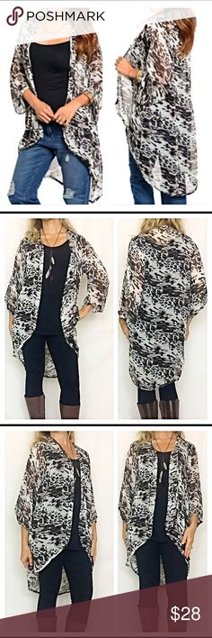 """Animal print lightweight cardigan S M L XL Add this Fun & Sassy lightweight animal cardigan to your wardrobe to liven things up!!  White black & mocha - Hi low cut semi sheer polyester & Flowy/flattering fit. S M L XL New from maker without tags   True to size - Measurements take from size small laying flat: Bust 20""""  Front Length 32"""" Back Length 39"""" Sweaters Cardigans"""