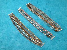 Rhinestone Chain Bracelet 9 strand OOAK Lilac by NeutralNellies