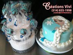 Gâteau reine des neiges et popcakes