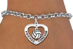 Volleyball Crystal Heart bracelet, another unique piece of volleyball jewelry by GymRats Volleyball necklaces, bracelets, and earrings. Bridesmaid Jewelry, Bridal Jewelry, Jewelry Gifts, Jewelry Bracelets, Unique Jewelry, Volleyball Jewelry, Friend Bracelets, Heart Bracelet, Heart Charm
