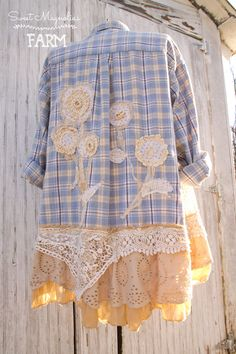 Farm Girl Fancies Upcycled Flannel Shirt Jacket Tunic by Sweet Magnolias Farm .. Vintage Lace Flowers Now in our Etsy Shop