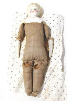 VINTAGE--10 INCH--CERAMIC DOLL--CLOTH AND SAWDUST BODY--NEEDS REPAIRED | Dolls & Bears, Dolls, By Material | eBay!