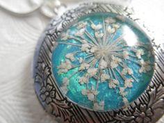 Pressed Flower Keepsake Locket-Queen Anne's by giftforallseasons