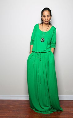 PLUS SIZE  Kelsey Green Maxi Dress  Long Sleeve dress : Autumn Thrills Collection No.1  (Best Seller on Etsy, $75.00