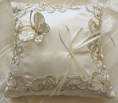 Butterfly wedding Ring Pillow off white - can be customized - colour ,