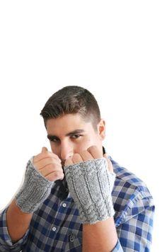 Personalized Grey Men's Gloves Mittens #glove #Fingerless #halloweenfingerless #wintergloves #fallfingerless #funnyfingerless
