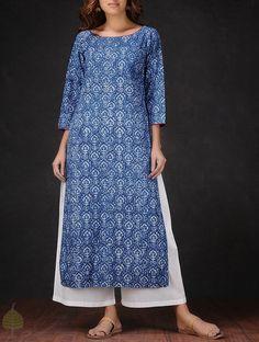 Indigo-White Natural-dyed Dabu-printed Round Neck Cotton Kurta by Jaypore on Jaypore.com