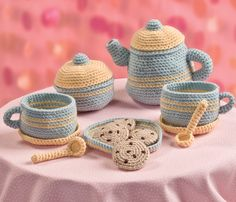 The Big Book of Little Amigurumi: 72 Seriously Cute Patterns to Crochet - Tea Set - Teapot, sugar, spoons, saucers, plate, chocolate chip cookies, cups