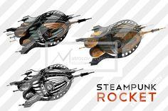 Steampunk rocket set - Illustrations - 1