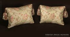 Italian silk brocade decorative designer pillows from lee jofa angelina lampas fabric with kravet couture backing velvet for transitional and traditional interior design and elegant home decor accents