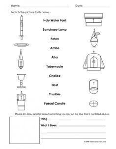 Interactive Church Tour Worksheet | Religious Education Resources for Teachers....could make my own to fit for my lesson on the church