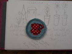 Brooch Badge: Teacup textile £4.50