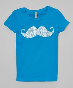 Another great find on #zulily! Turquoise Mustache Tee - Girls by LA Pop Art #zulilyfinds