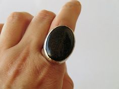 Blue goldstone ring rhodium plated cocktail ring blue by craftysou, $52.00
