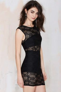Total Mesh Bodycon Dress - Black Body-Con