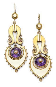A Pair of Gold and Amethyst Ear Pendants, of a Scroll Design with a Circular Cut Amethyst Drop, c.1860.  Available at FD. www.fd-inspired.com