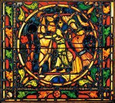 Parable of the Prodigal Son, ca. 1215–25  France  Pot metal, glass, vitreous paint  69 1/2 x 27 1/2 inches  Gift of Mr. and Mrs. Herman C. Krannert 1963-45-1   Krannert Art Museum