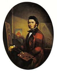 """HAMEL, THÉOPHILE (baptized François-Xavier), painter; b. 8 Nov. 1817 at Sainte-Foy, near Quebec, one of nine children of François-Xavier Hamel, a farmer, and Marie-Françoise Routhier; d. 23 Dec. 1870 in Quebec.  On 16 May 1834, at age 16, Théophile Hamel became an apprentice to the most prominent artist at Quebec, Antoine Plamondon*, by a contract between Théophile's father and the artist. Plamondon undertook, for a period of six years, to """"show and teach him . . . t"""