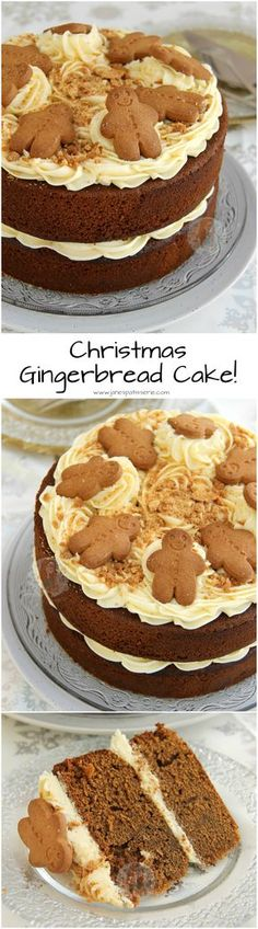 A Two-Layer Gingerbread Cake with Ginger Buttercream Frosting. the perfect Christmas cake for the Festive Season! (chocolate icing for cupcakes buttercream recipe) Xmas Food, Christmas Cooking, Christmas Desserts, Christmas Treats, Christmas Cakes, Christmas Recipes, Thanksgiving Snacks, Christmas Biscuits, Holiday Foods