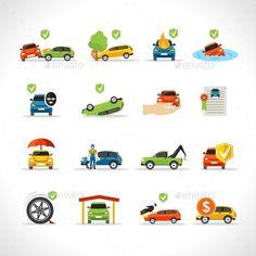 Car Insurance Icons Set #design Buy Now: http://graphicriver.net/item/car-insurance-icons-set/12821262?ref=ksioks