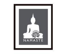 Namaste Buddha Art Print Charcoal Dark Grey And by AldariArt