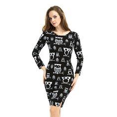 Owl Pattern Womens Winter Bodycon O-neck Long Sleeve Vintage Dress Plus Size 6XL