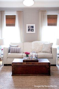 pale gray walls, jute rug, white sofa