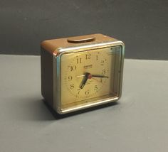 Vintage Equity Quartz Alarm clock brown square battery operated by Bayleesncream on Etsy