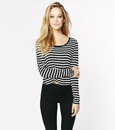 #DYNHOLIDAY Stripe a pose! This cropped long sleeve tee looks gorgeous paired with one of our high waist skirts.
