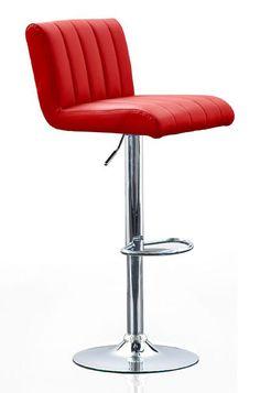 moderner Barhocker Cool | Roter Tresenstuhl mit Kunstlederbezug und edlem Chromgestell bringt neuen Schwung in die Küche, den Partykeller, das Esszimmer oder an die Bar. #MoebelLETZ