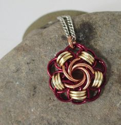 Burgundy Copper and Gold Chainmaille Pendant by Triplelle on Etsy