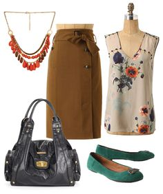 I really like this! Not sure I could or would wanna pull off the brown pencil skirt, but i'm sure I could find a suitable substitute.
