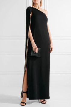 Halston Heritage - Cape-effect One-shoulder Crepe Gown - Black - US