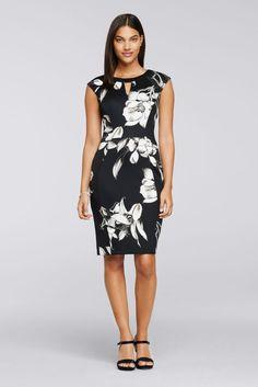 Cap Sleeve Knee-Length Printed Knit Work Dress - Black, 4