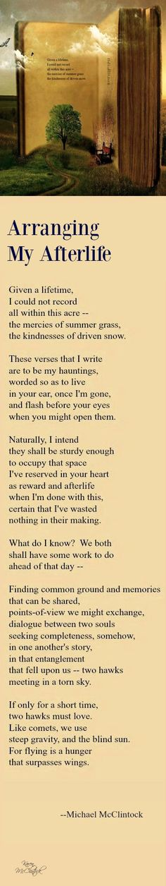 Poem: Arranging My Afterlife -- by Michael McClintock.