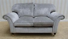 Elegant Laura Ashley Mortimer French Grey Fabric Small Two Seat Sofa